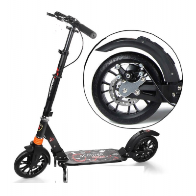 URBAN SCOOTER 117 BLACK САМОКАТ ДВА АММОРТИЗАТОРА РУЧНОЙ ТОРМОЗ