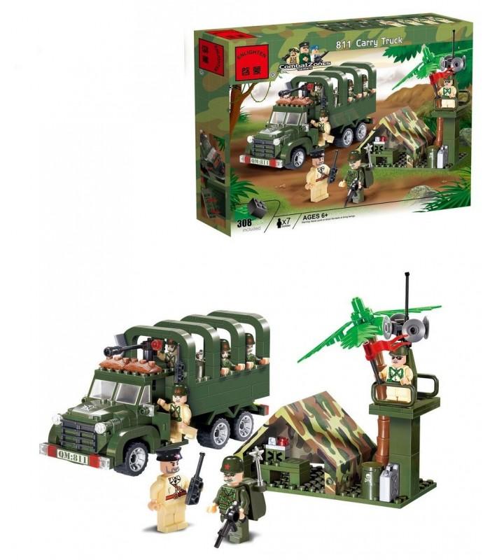 Конструктор Brick 811 Военный грузовик (308 деталей)