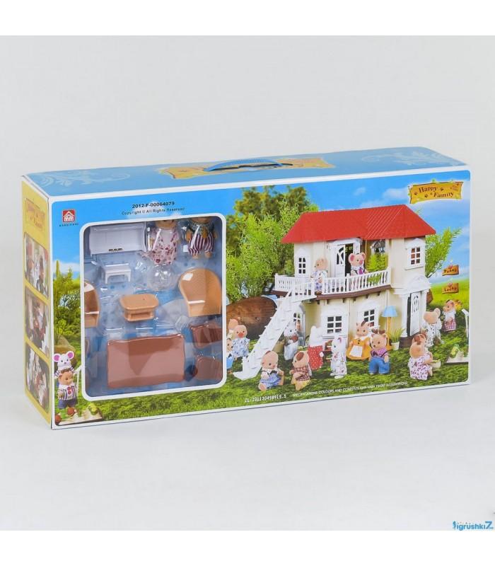 Домик для кукол 012-01 Wangixiang 50х39х34 см (2 фигурки, свет)