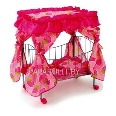 Кроватка для кукол розовая/клубнички