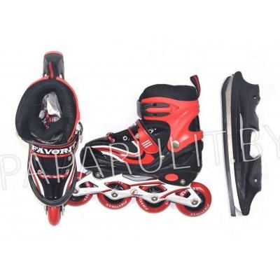 Роликовые коньки со сменным лезвием (красный)