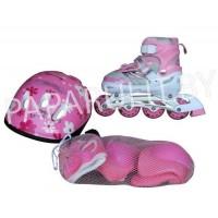 Роликовые коньки со шлемом и защитой (розовый)