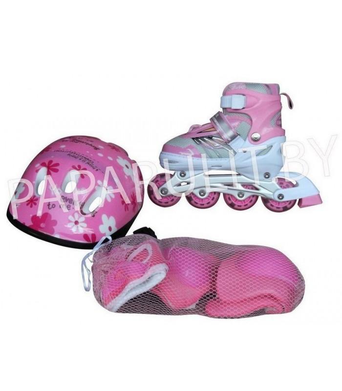 Роликовые коньки со шлемом и защитой (розовый) S:28-32, M:33-37