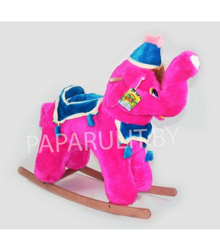 Качалка-слон набивной малиновый
