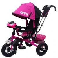 Детский трехколесный велосипед Trike City розовый с фарой и надувными колесами  5588А-1