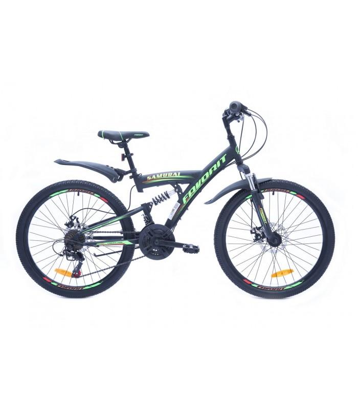 Велосипед Favorit Samurai 24 D (черный/зеленый, 2019)